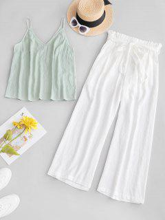 ZAFUL Cami Top And Belted Paperbag Pants Set - White M