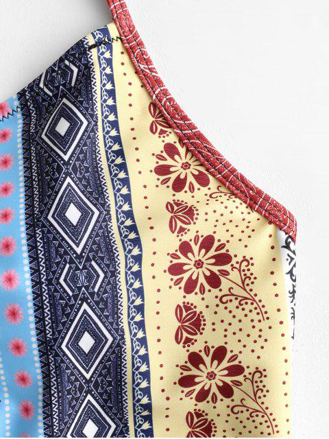 ZAFUL Flower Paisley Lace Up Tummy Control Tankini traje de baño - Multicolor-A XL Mobile
