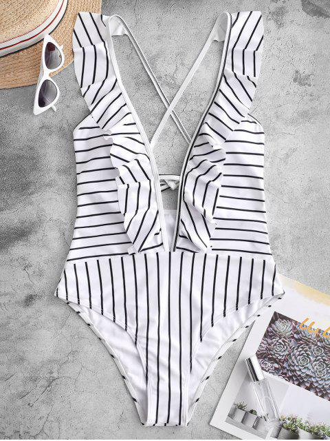 online ZAFUL Striped Ruffle Plunging One-piece Swimsuit - MULTI-A M Mobile