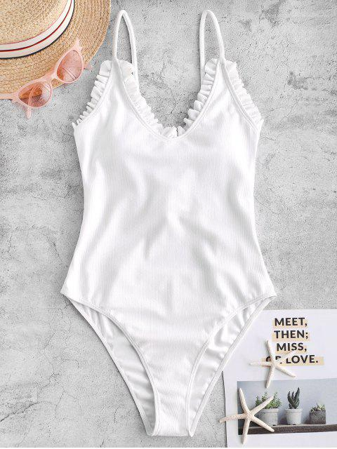 new ZAFUL Frilled Lace-up Ribbed One-piece Swimsuit - WHITE L Mobile