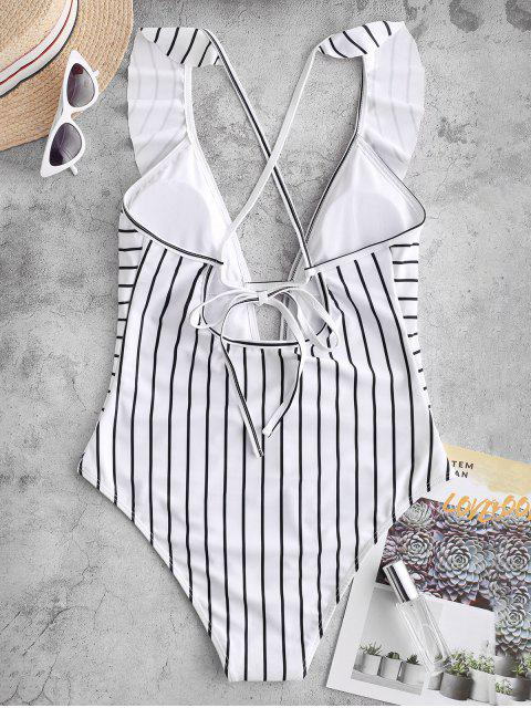 trendy ZAFUL Striped Ruffle Plunging One-piece Swimsuit - MULTI-A L Mobile