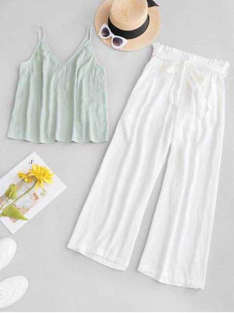 hot ZAFUL Cami Top and Belted Paperbag Pants Set - WHITE M Mobile