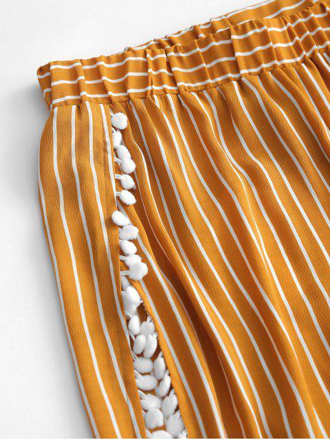 ZAFUL Полосатый принт С помпоном С разрезом Пляжные Брюки - Золотисто-коричневый S Mobile