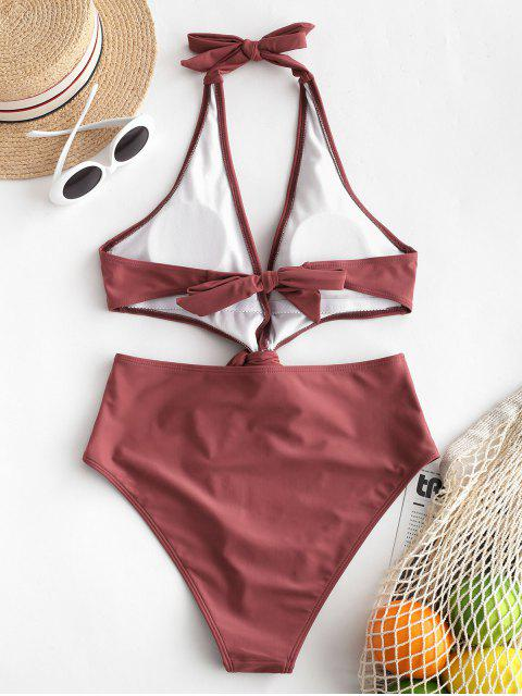outfit ZAFUL Knot Halter Monokini Swimsuit - CHERRY RED S Mobile