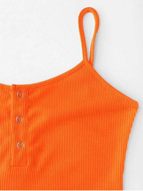 lady Half Buttoned Ribbed Cami Dress - PUMPKIN ORANGE M Mobile