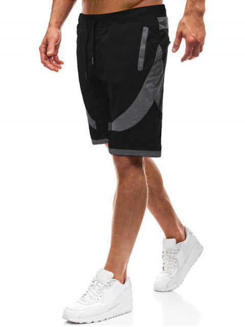 Color bloque empalme cordón pantalones cortos casuales - Negro L Mobile