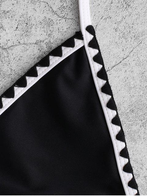 womens ZAFUL Embroidered Trim Bralette Criss Cross Bikini Swimsuit - BLACK S Mobile