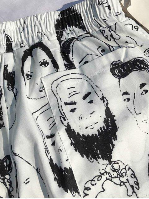 Pantalones cortos de tablero de impresión de dibujo de retrato abstracto - Blanco M Mobile