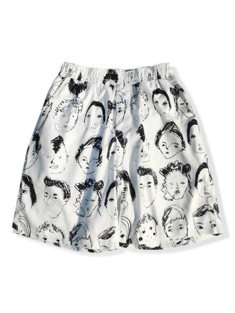 Pantalones cortos de tablero de impresión de dibujo de retrato abstracto - Blanco XS Mobile