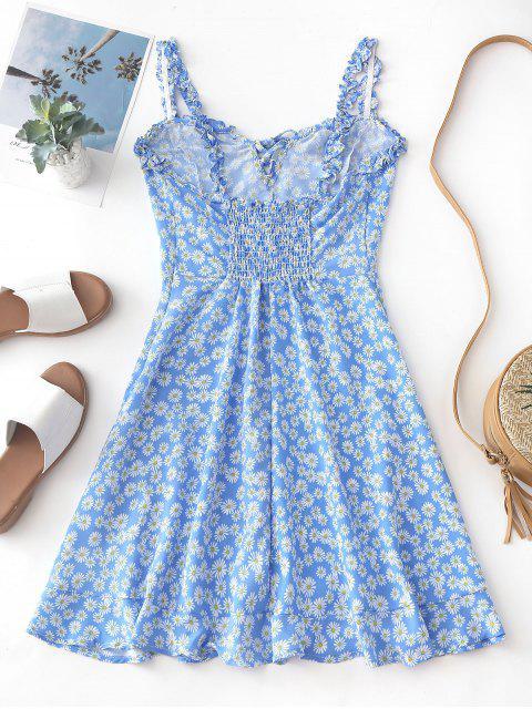 Smocked Lace Up Floral Mini vestido - Azul S Mobile
