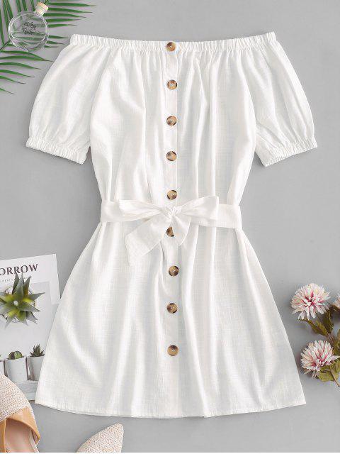 Mini Robe Boutonnée à Epaule Dénudée - Blanc XL Mobile