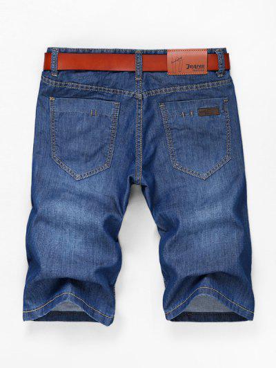 2b8924d081690 ... Solid Color Simple Zipper Fly Jean Shorts - Denim Blue - Denim Blue 38