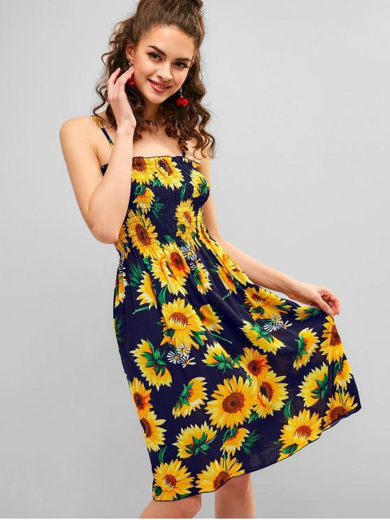 unique Cami Sunflower A Line Shirred Dress - DEEP BLUE ONE SIZE