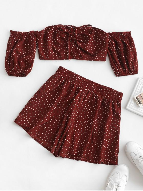 chic ZAFUL Polka Dot Cinched Bandeau Two Piece Set - CHERRY RED M