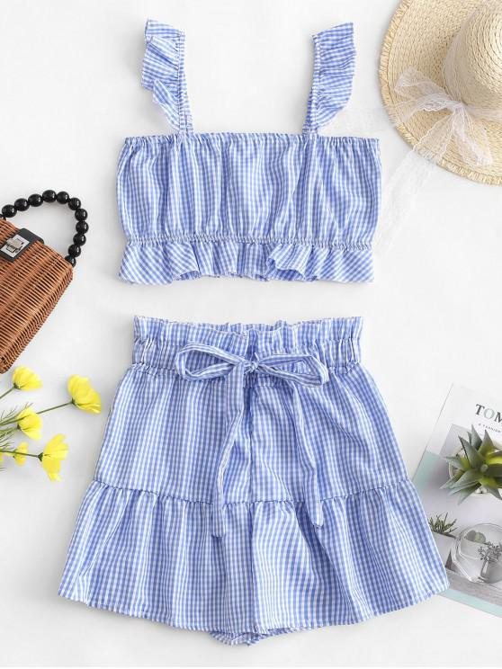 Conjunto de pantalones cortos de top y bolsa de papel a cuadros de volantes - Azul L