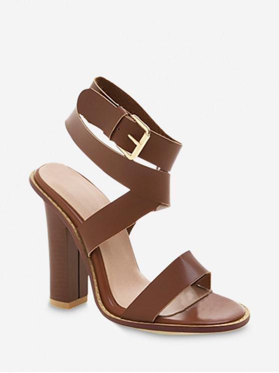 lady Sexy Ankle Wrap Chunky Sandals - BROWN EU 40