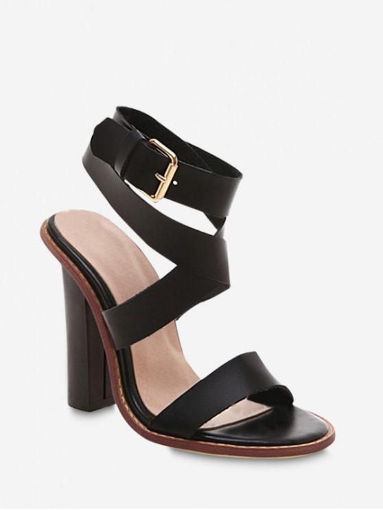 shops Sexy Ankle Wrap Chunky Sandals - BLACK EU 40