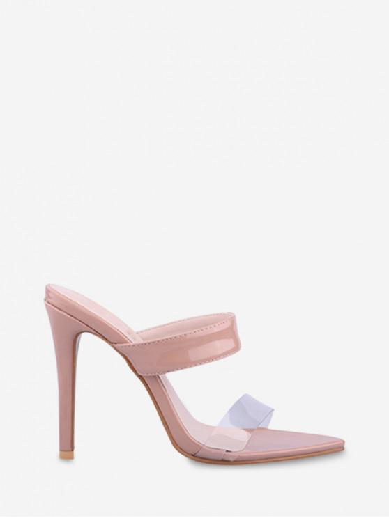 trendy Pointed Toe High Heel Slides Sandals - LIGHT PINK EU 43