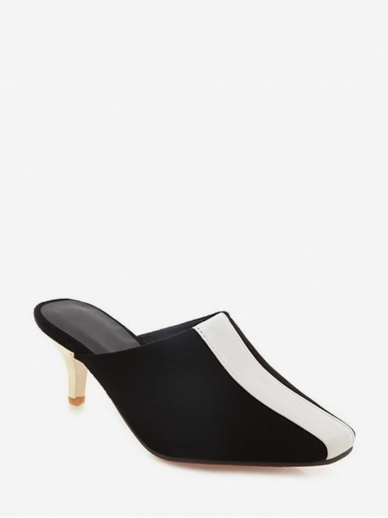 fancy Two Tone Stiletto Heel Half Slides - BLACK EU 43