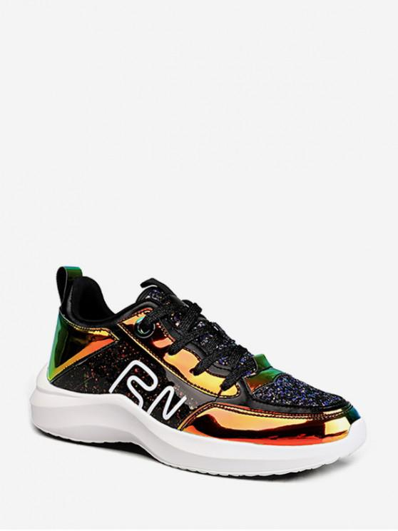 ladies Sequined Holographic Outdoor Sneakers - GOLD EU 41