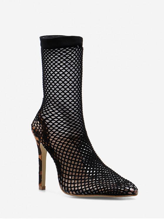 fancy Snake Patterned Fishnet Stiletto Heel Boots - BLACK EU 40