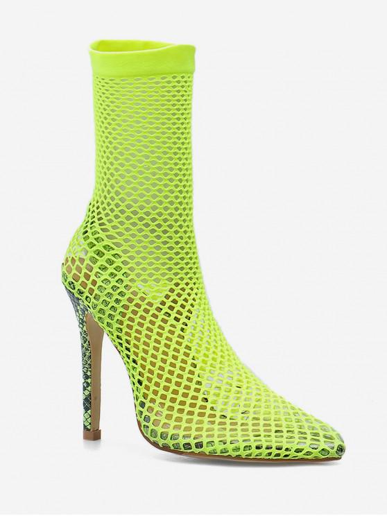 unique Snake Patterned Fishnet Stiletto Heel Boots - GREEN EU 36