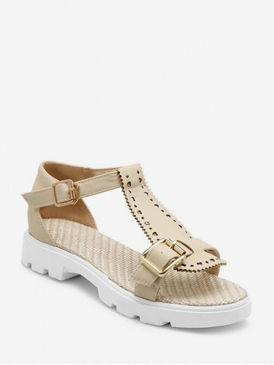 lady T Strap Buckled Beach Sandals - BEIGE EU 42