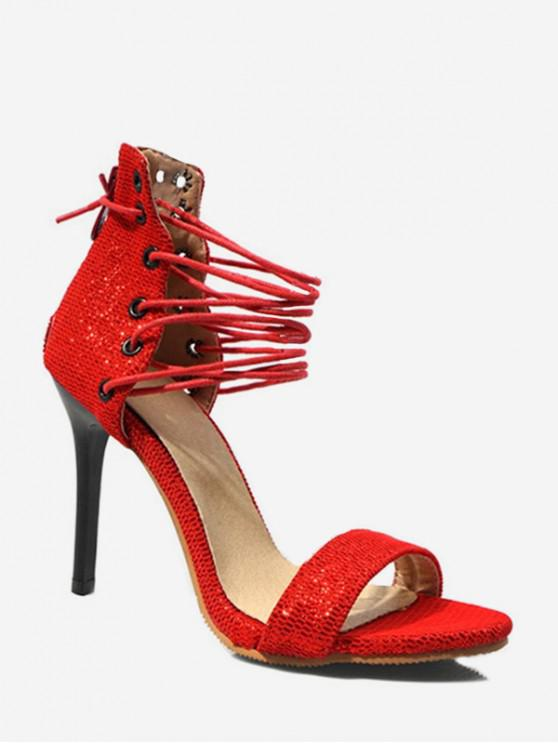 fashion Glitter Lace Up High Heel Sandals - LAVA RED EU 39