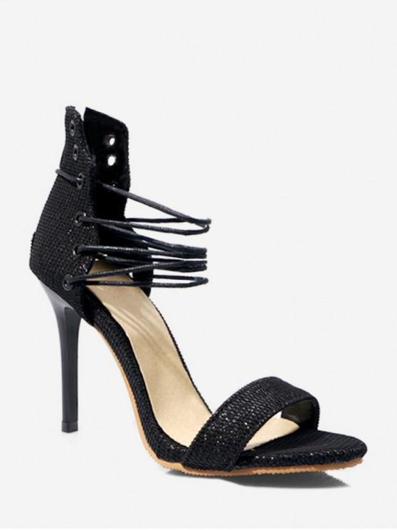 hot Glitter Lace Up High Heel Sandals - BLACK EU 39