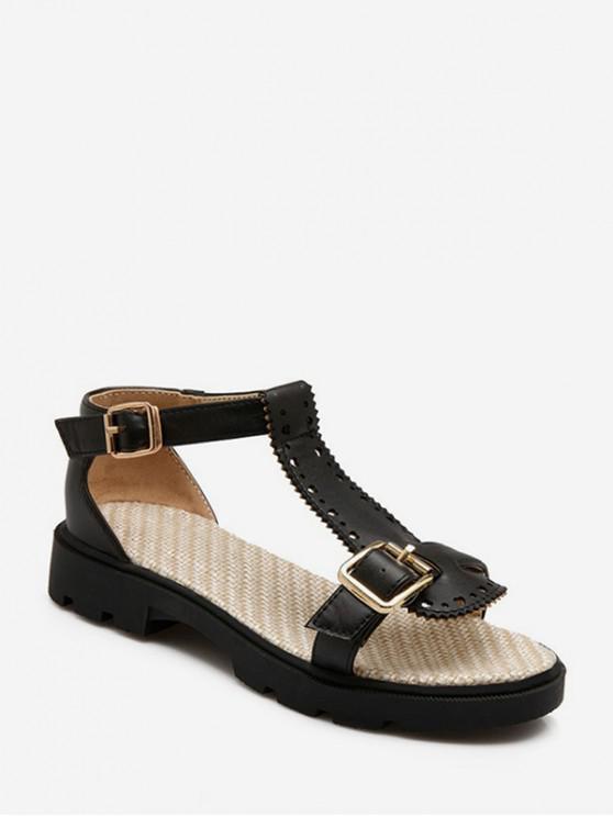 fashion T Strap Buckled Beach Sandals - BLACK EU 38