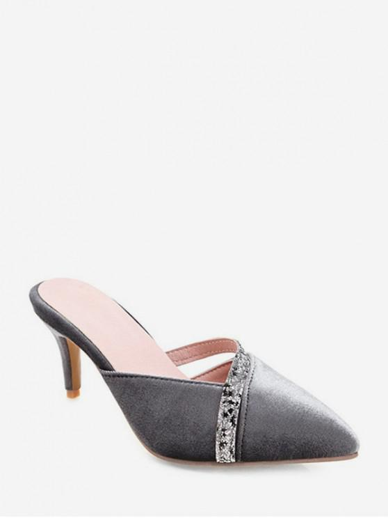 new Sequined Strap Design Pointed Toe Slides - GRAY EU 36