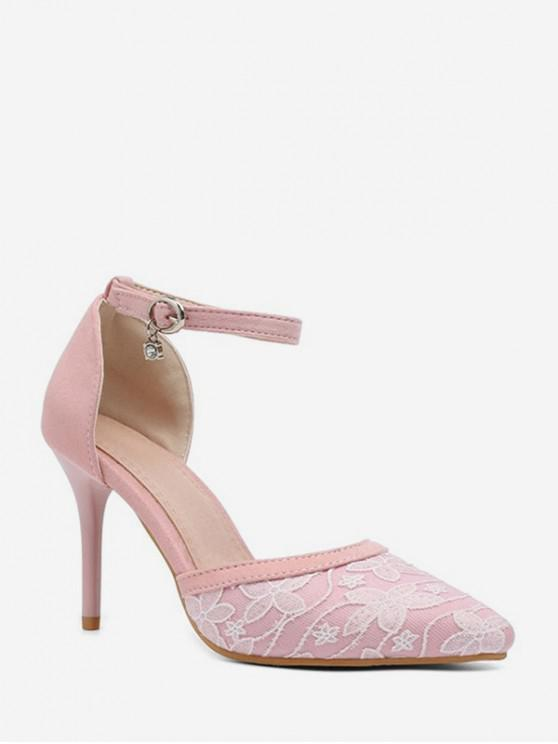 2020 Chunky Heel Lace Panel Sandals In