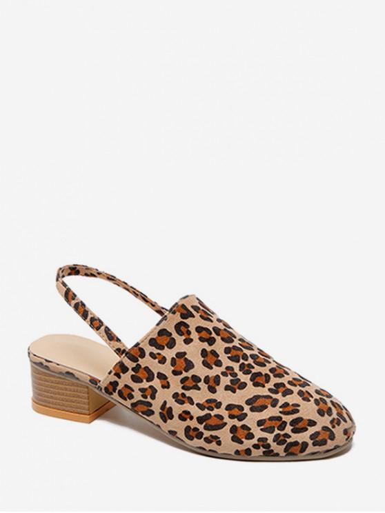 buy Chunky Heel Design Round Toe Sandals - LEOPARD EU 38
