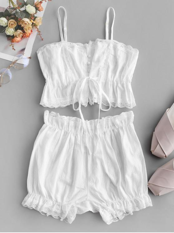 latest Lace Panel Buttoned Drawstring Pajama Suit - WHITE M