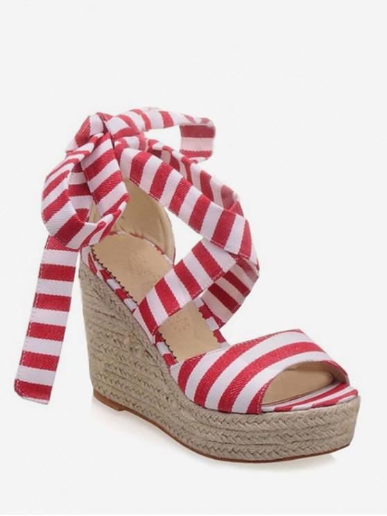 affordable Wedge Heel Stripe Pattern Sandals - RED EU 39