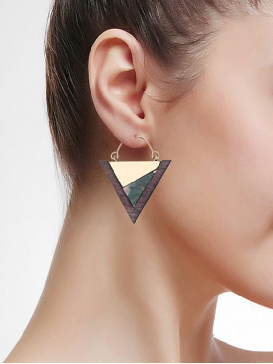 ladies Wood Triangle Geometric Drop Earrings - SEA GREEN