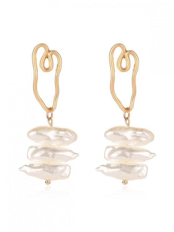 shop Faux Pearl Irregular Stud Earrings - MULTI-D