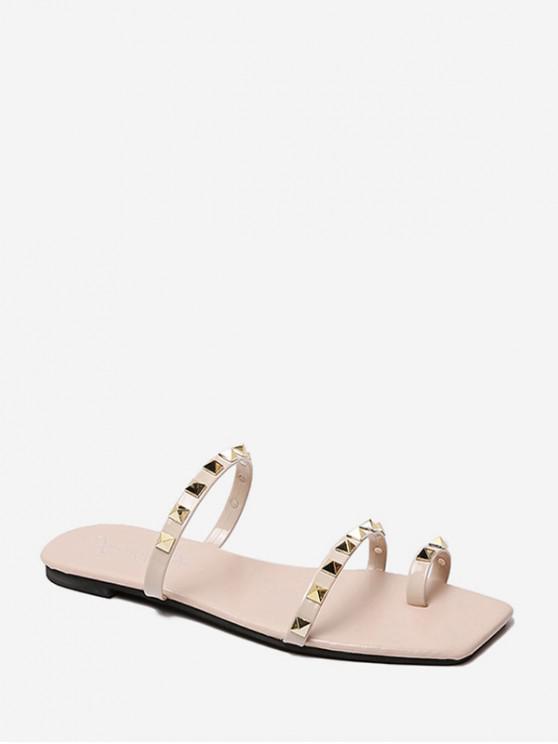 buy Toe Loop Rivets Flat Slides - BEIGE EU 35