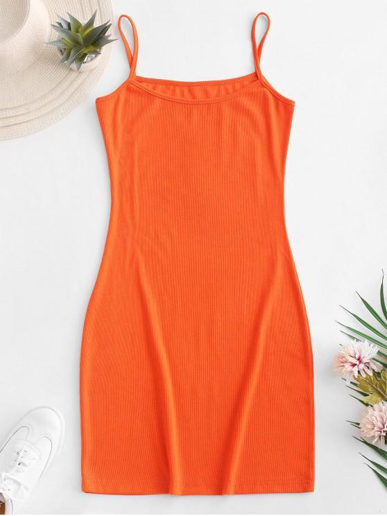 fashion Plain Ribbed Cami Bodycon Dress - ORANGE M