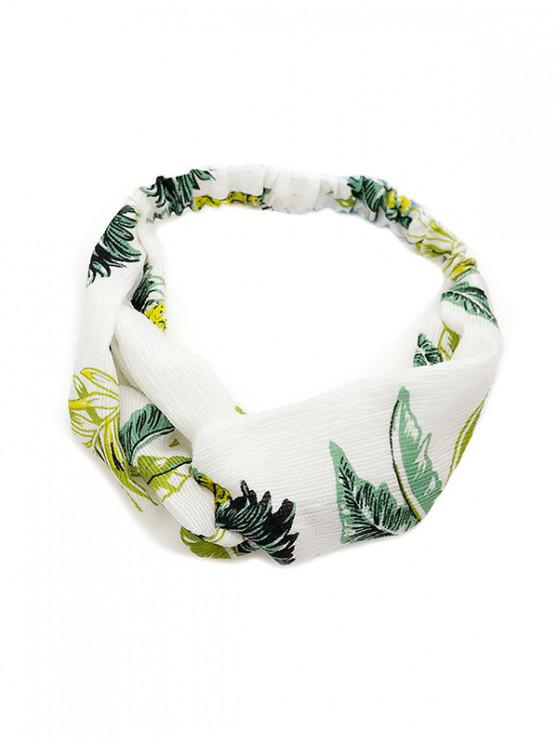 affordable Leaf Print Cross Design Headband - WHITE
