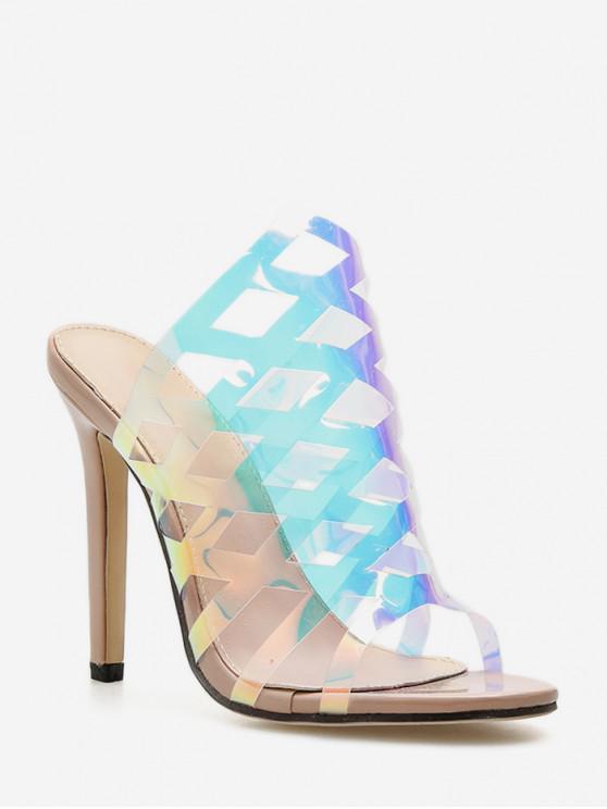 outfits Geometric Translucent PVC High Heel Slides - APRICOT EU 36