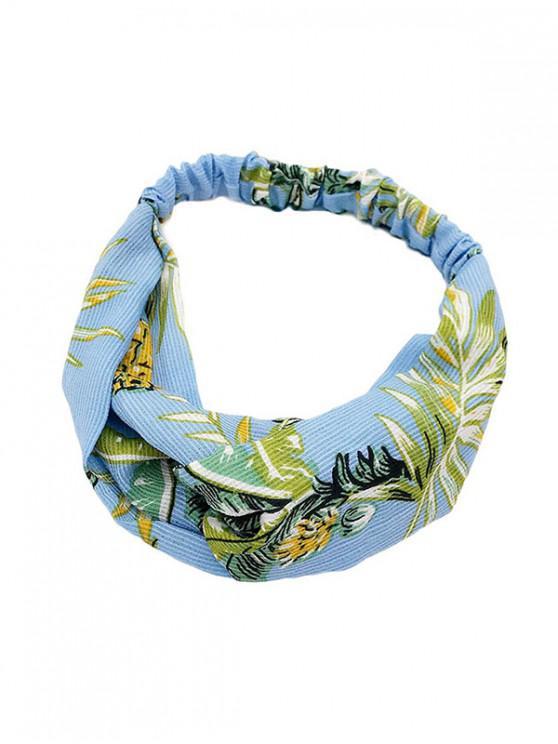 chic Leaf Print Cross Design Headband - BABY BLUE