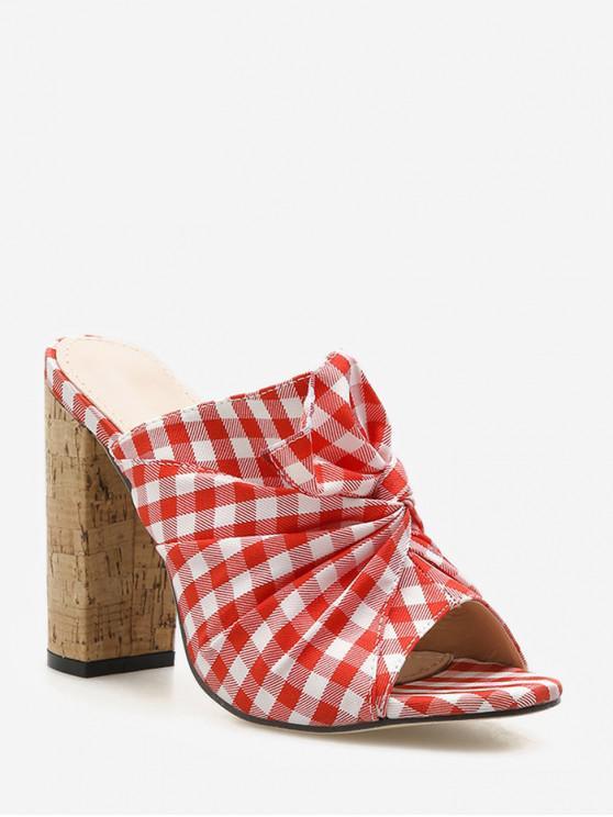 sale Twist Plaid Pattern Chunky Heel Slides - RED EU 35