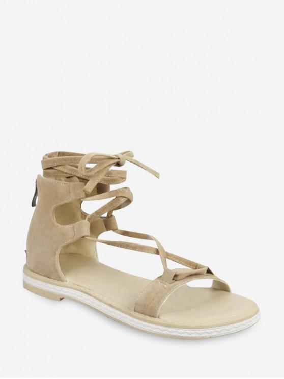 outfit Cross Lace Up Gladiator Sandals - APRICOT EU 40