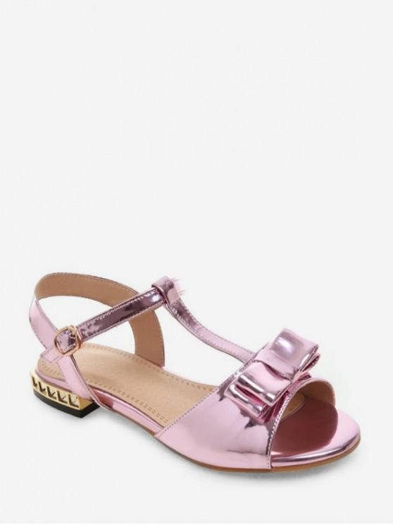 online Bowknot Mirrored Ankle Strap Sandals - PINK EU 38