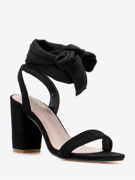buy Ankle Wrap Suede Chunky Heel Sandals - BLACK EU 40
