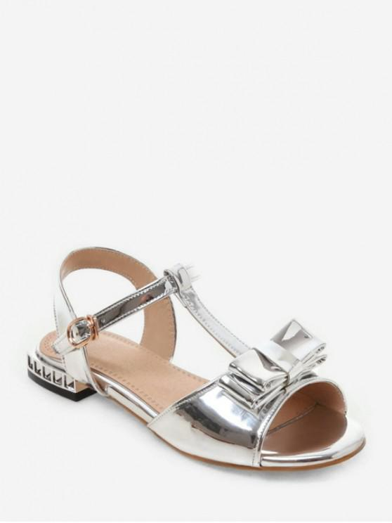 hot Bowknot Mirrored Ankle Strap Sandals - SILVER EU 40