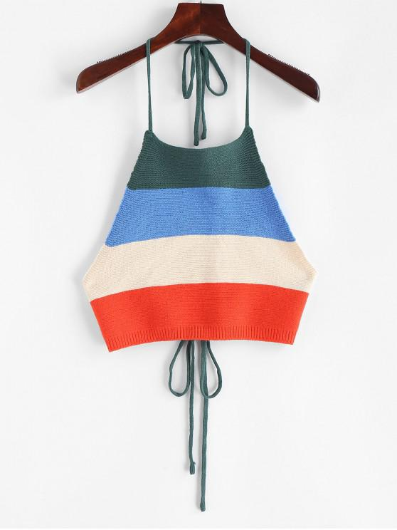 trendy ZAFUL Tied Color Block Knitted Tank Top - MULTI-A S