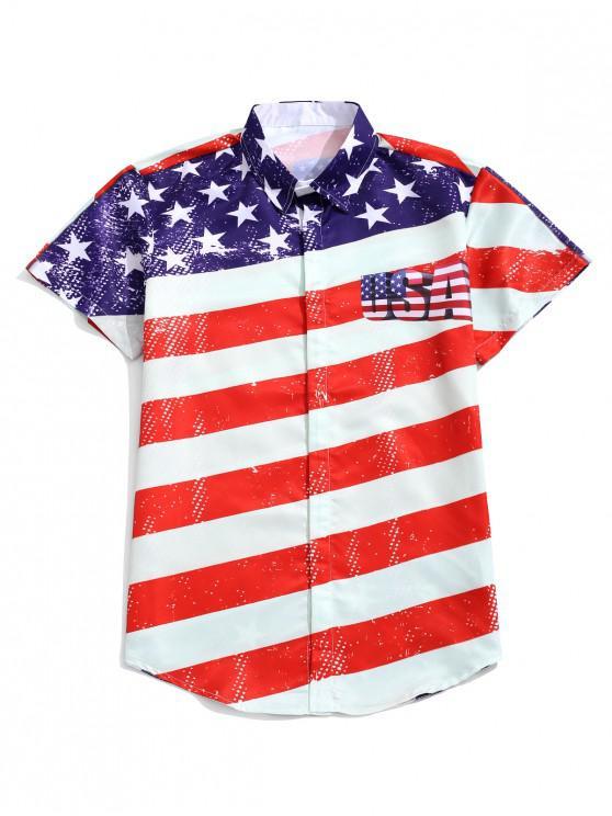 Camisa del botón de la impresión de la bandera amer - Multicolor-B L