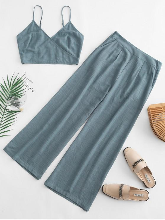 latest ZAFUL Cami Pocket Straight Pants Set - BLUE GRAY XL